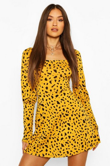 Mustard Leopard Print Square Neck Mini Dress
