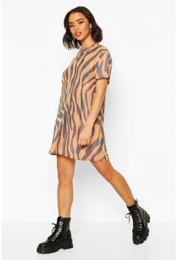 Orange Zebra Print Mesh T-Shirt Dress