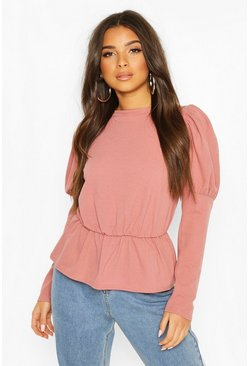 Rose Puff Sleeve Gathered Waist Top