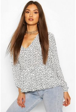 White Smudge Print Neck Peplum Top