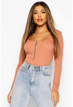Tan Rib O-Ring Zip Long Sleeved Top
