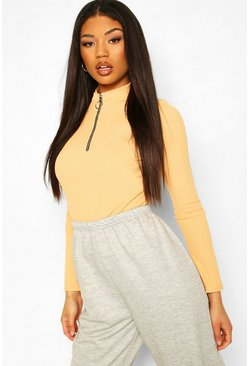 Apricot Zip Front Round High Neck Rib Top