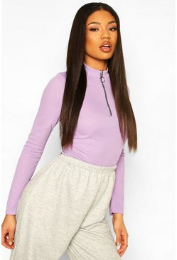 Lilac Zip Front Round High Neck Rib Top