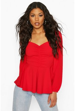 Scuba Ruched Front Peplum Top, Red
