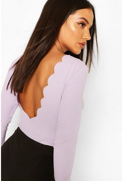 Lilac Scallop Scoop Back Body Suit