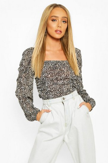 Natural Ruched Front Leopard Top