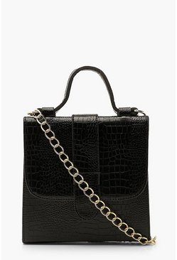 Black Croc Tab Small Tote Bag