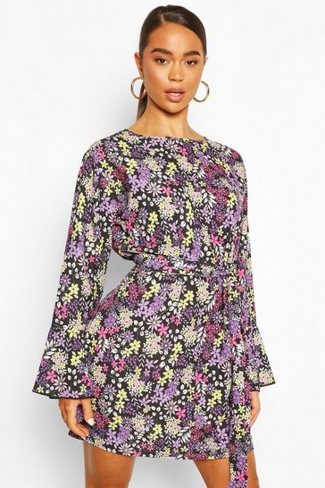 Black Floral Print Tie Front Dress With Frill Hem Sleeves