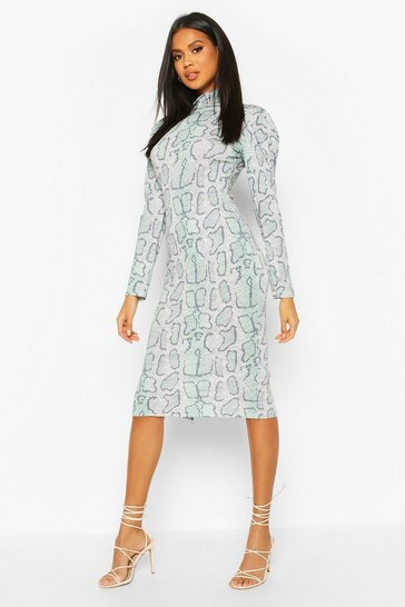 Green Snake Print Turtle Neck Midi Dress