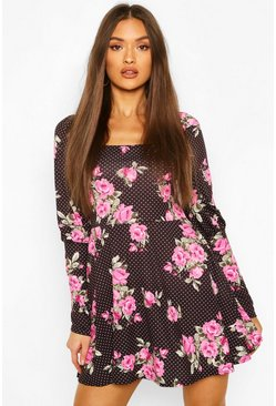 Black Floral Spot Square Neck Mini Dress