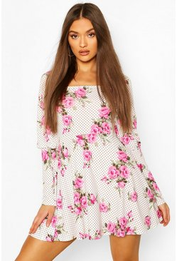 White Floral Spot Square Neck Mini Dress