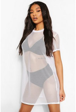 White Fish Net T-Shirt Dress