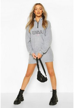 Silver grey USA Slogan Fleece Sweat Dress