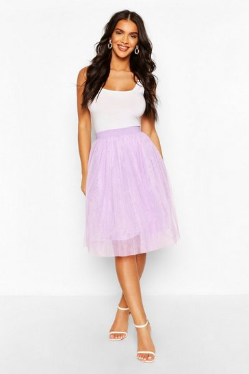 Lilac Knee Length Tulle Midi Skirt