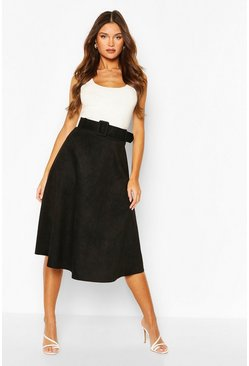 Black Suedette Fabric Belted Skater Skirt