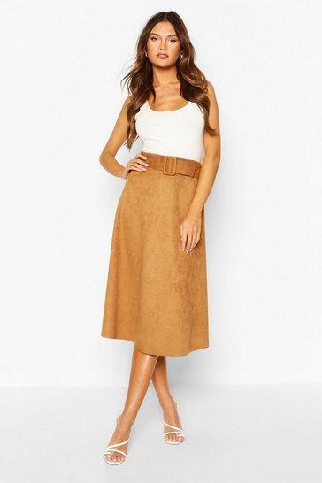 Tan Suedette Fabric Belted Skater Skirt