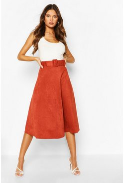 Terracotta Suedette Fabric Belted Skater Skirt