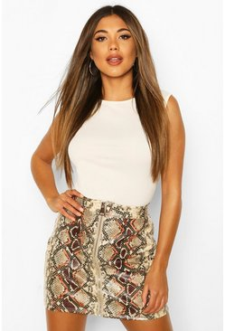 Sand Faux Leather Snake Print Mini Skirt
