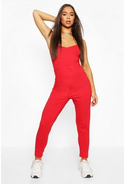 Red Basic Viscose Strappy Cami Jumpsuit