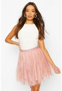 Nude Layered Tulle Mini Skirt