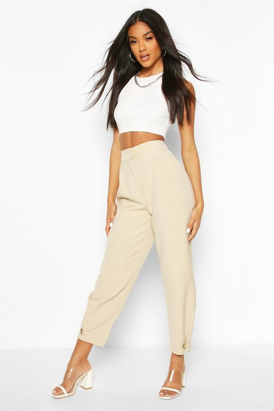 Ecru Button Front Tie Ankle Tailored Pants