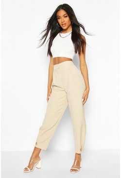 Ecru Button Front Tie Ankle Tailored Trousers