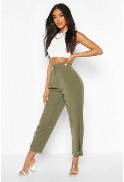 Khaki Button Front Tie Ankle Tailored Trousers