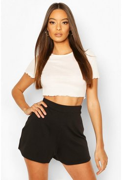 Black Basic Loopback Shorts
