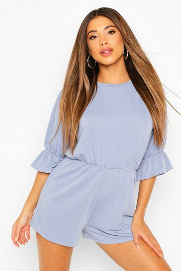 Dusty blue Loopback Puff Sleeve Playsuit