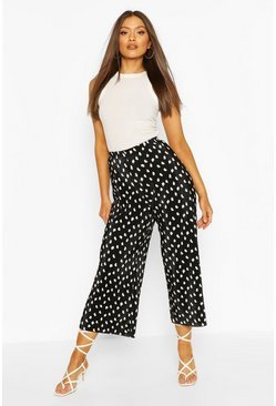 Black Polka Dot Plisse Longer Length Culottes