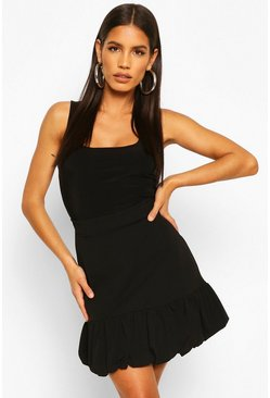 Black Puffball Peplum Hem Mini Skirt