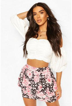 Black Oriental Floral Puffball Peplum Mini Skirt