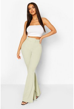 Sage Self Fabric Belted Scuba Crepe Split Flares