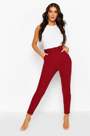 Berry Belted Scuba Crepe Skinny Stretch Trousers