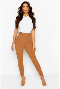 Camel Belted Scuba Crepe Skinny Stretch Trousers