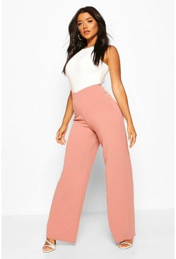 Rose Basic High Waist Stretch Wide Leg Trousers