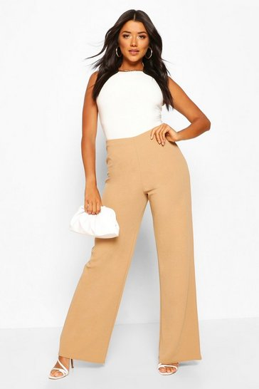 Sand Basic High Waist Stretch Wide Leg Trousers