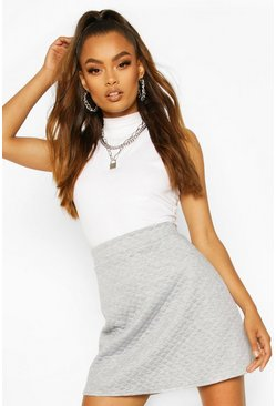Grey Quilted Mini Skirt