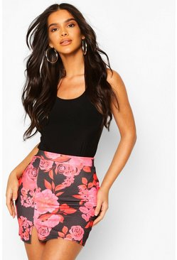 Pink Floral Side Split Mini Skirt