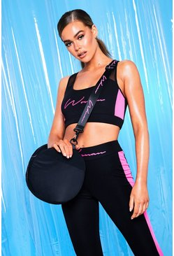 Sac de sport en nylon inscription Woman, Noir