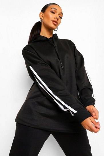 Black Side Stripe Extreme Oversize Hoody