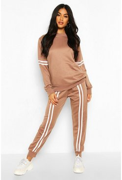 Mocha Side Stripe Sweat And Jogger Tracksuit
