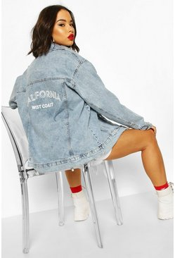 Mid blue Festival Slogan Oversized Denim Jacket