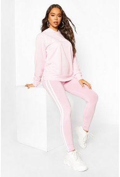 Dusky pink Woman Hoodie And Legging Tracksuit