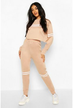 Stone Side Stripe Crop Sweat And Jogger Set