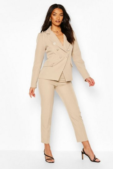Beige Double Breasted Blazer & Trouser Set