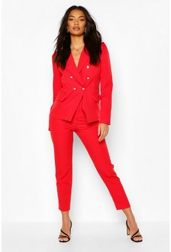 Red Double Breasted Blazer & Pants Set