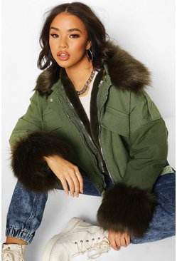 Khaki Faux Fur Trim Jacket