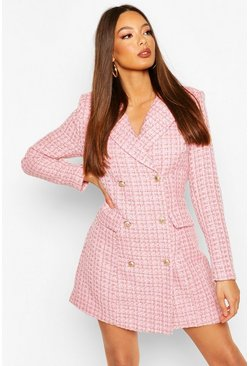 Pink Boucle Tailored Blazer Dress