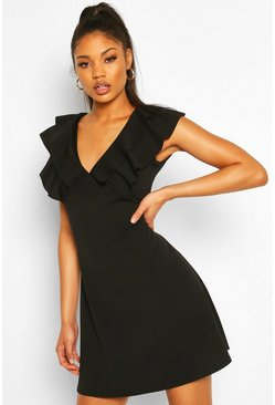 Black Frill Neck Skater Dress